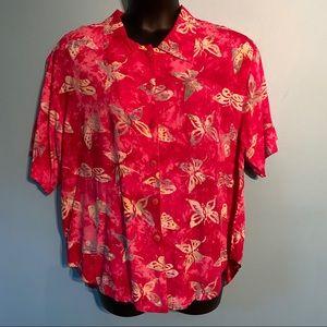 pink butterfly Hawaiian button up shirt